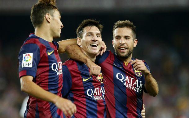 Messi (centro) junto a Munir y Jordi Alba en uno de los festejos de la noche catalana.