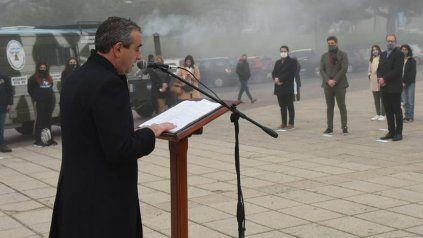 El intendente Javkin durante la inauguración de la planta procesadora de residuos.