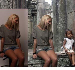 El antes y el después de una foto montada para una tesis universitaria.
