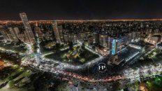Impactantes imágenes de los festejos en el Monumento vistos desde un drone
