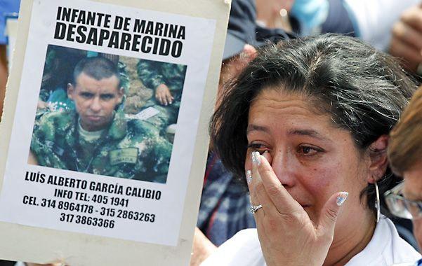 Reclamo. Protesta en Bogotá de familiares de soldados desaparecidos por las Farc.
