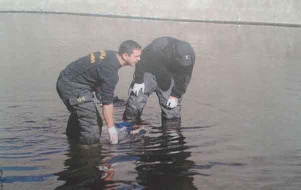 Los bomberos sacaron del agua del Ludueña a Marcelo Lares.