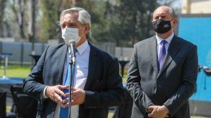 El presidente Alberto Fernández en su visita a Rosario en septiembre de 2020.