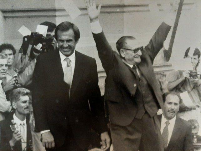 ASUNCIÓN. Reutemann en el acto de asunción como gobernador el 10 de diciembre