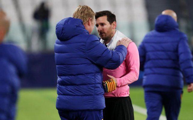 Lionel Messi y su entrenador poco antes del receso de fin de año.