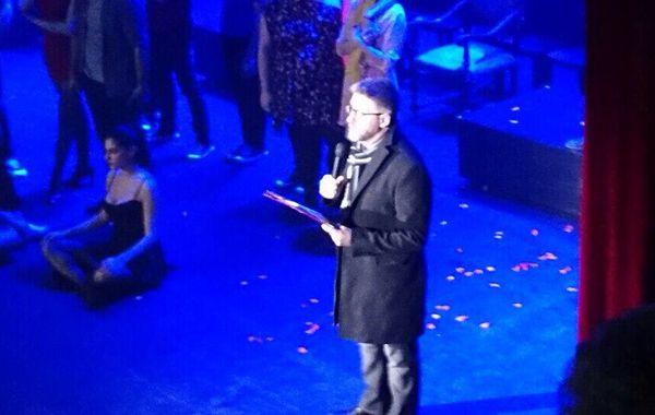 Luis Novaresio leyó un texto en el escenario.