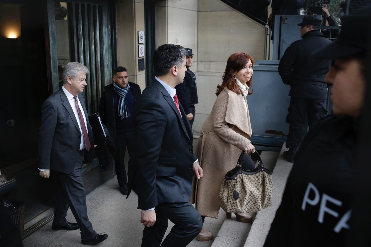 Argentina's former President Cristina Fernandez leaves court in Buenos Aires