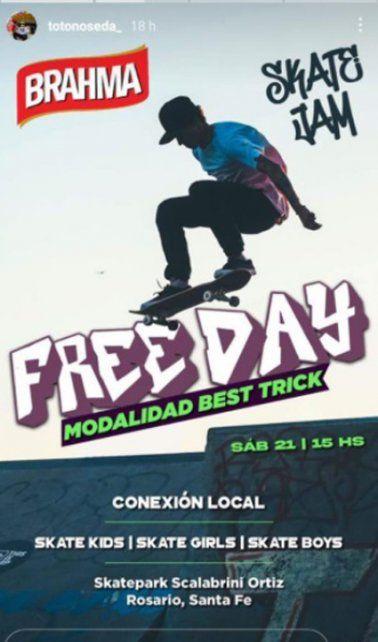 El flyer de la actividad que se desarrolló este sábado en el Skate Park.