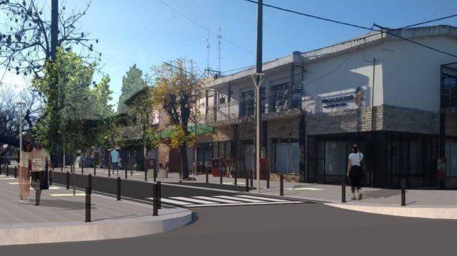 Fotomontaje de como se verá el área comercial de calle Morelli en el centro de la ciudad.