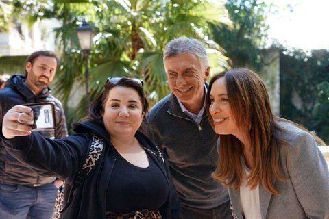 Mauricio Macri y María Eugenia Vidal compatieron un acto de campaña en Capital Federal.