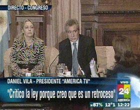 Vila volvió a cuestionar la ley de medios y la calificó de inconstitucional