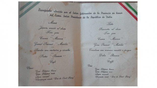 Menú servido en la cena servida en honor del presidente de Italia en Rosario.