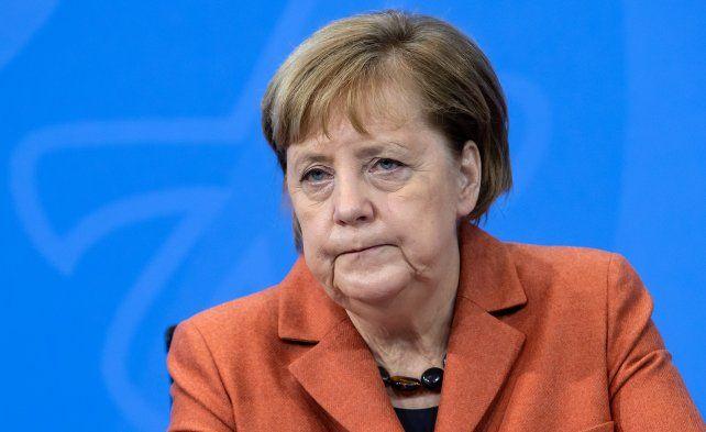 Preocupada. La canciller alemana durante la conferencia de prensa en la que anunció el nuevo confinamiento.