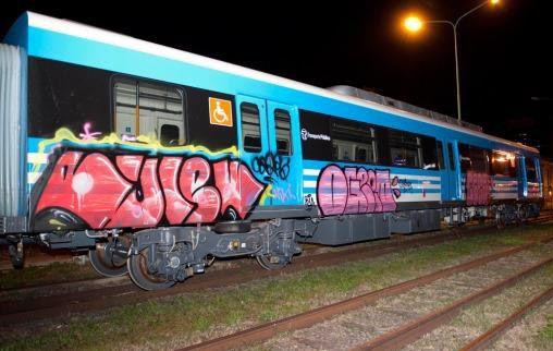 La formación de vagones que fue pintada por los jóvenes y que desató la furia del ministro.