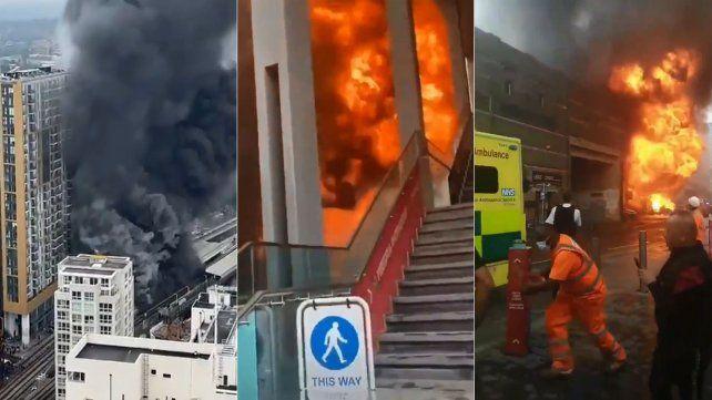 Gran explosión y posterior incendio en una estación de metro en Londres