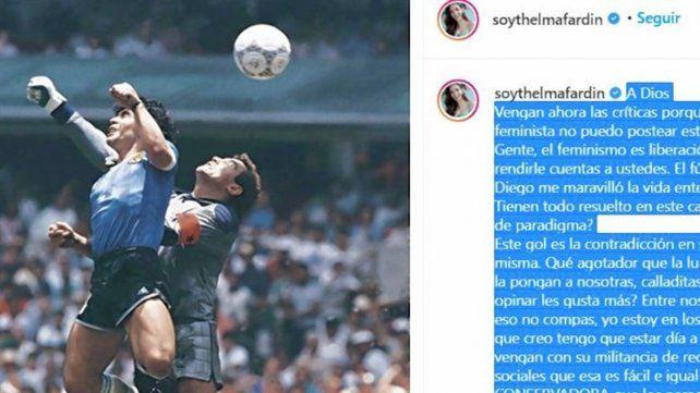 Polémica de Thelma Fardin por su despedida a Diego Maradona
