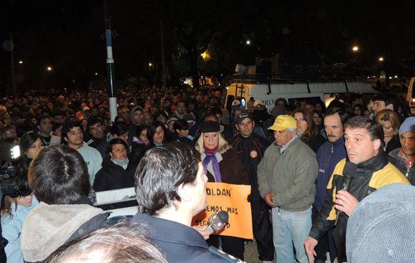 El intendente Pedretti pidió más agentes de seguridad durante la marcha.