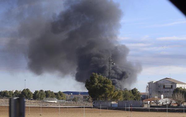 escena. El siniestro acaba de ocurrir en la base aérea de Albacete (España).