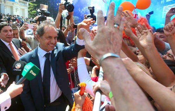 El candidato a presidente por el Frente para la Victoria dijo que una de las ideas es apuntalar la producción interna.