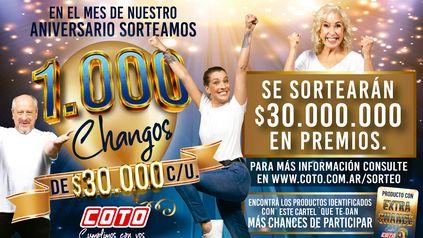 Coto sorteó los primeros 500 Changuitos de $30.000