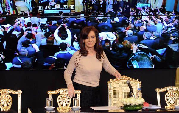 Con público. Cristina anunció la iniciativa contra el fraude laboral en un acto multitudinario en Casa Rosada.