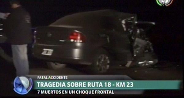 Siete muertos en un fatal accidente de tránsito en la ruta 18 a la altura de Villa Amelia