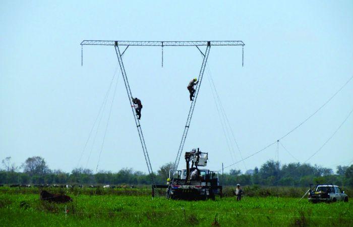 Gran cantidad de operarios de la EPE en varias torres para restablecer el servicio eléctrico. (Foto EPE)