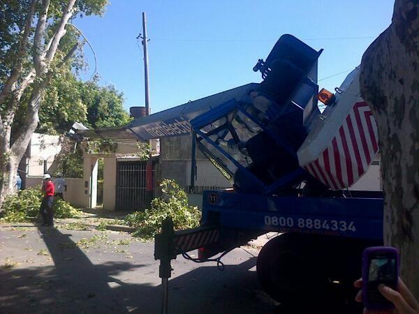 El pesado brazo de la grúa causó destrozos pero afortunadamente los ocupantes no sufrieron heridas.