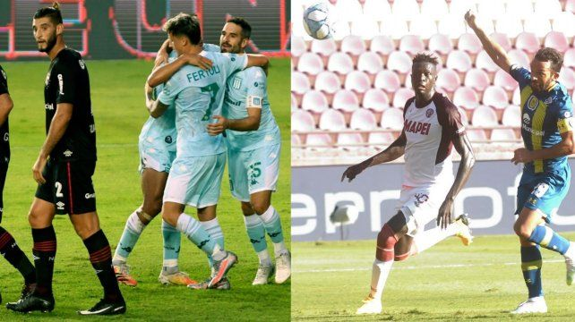 Guanini sufre el gol de Fértoli y a Gamba el arquero de Lanús le sacará el gol de cabeza. Newells y Central perdieron