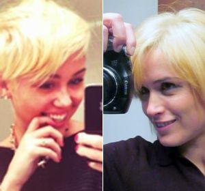 La cantante norteamericana Miley Cirus y la movilera de Canal 5 Gaby Peralta comparten el mismo look.