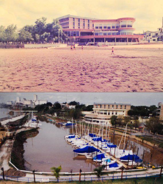 Antes y después de la construcción del espigón y embarcadero al río Paraná.