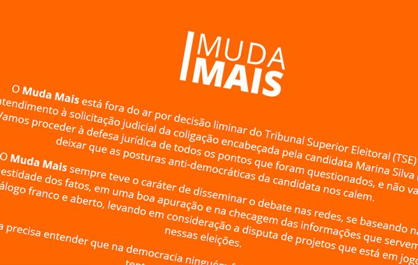El mensaje del sitio Muda Mais anunciando la decisión del tribunal.