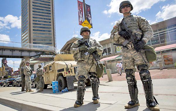 Tensa calma. Unos 5.000 efectivos de la Guardia Nacional fueron enviados a Baltimore para evitar desmanes.