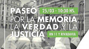La Comuna de Sauce Viejo invita a participar del acto de inauguración del Paseo por la Memoria, la Verdad y la Justicia, respetando el uso de tapabocas y distancia social.