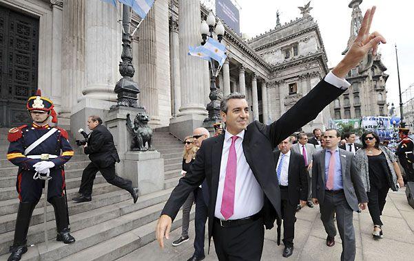El ministro Florencio Randazzo ingresa al Congreso.
