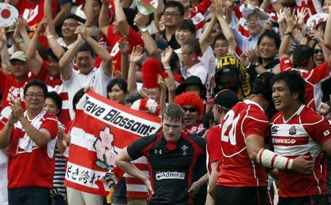 Los japoneses festejan su histórico triunfo.