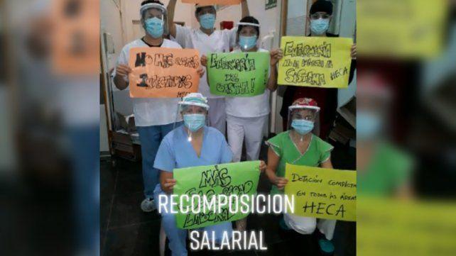 Los enfermeros del Heca difundieron un video pidiendo aumento y equipos de protección
