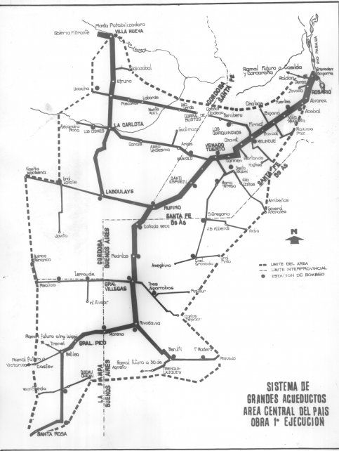 Croquis del Sistema de Acueductos del Area Central del País. El proyecto comenzó a gestarse en los últimos años de la década del 40.