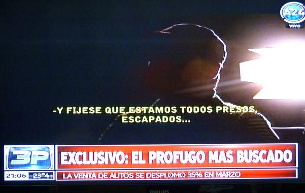 El prófugo Ramón Monchi Cantero Machuca brindó una entrevista televisiva el pasado jueves.