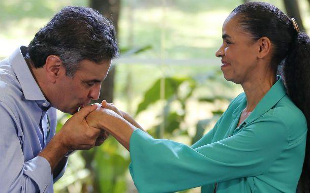 """Buena sintonía. Aécio y Marina escenificaron """"su compromiso"""" contra el Partido de los Trabajadores de Dilma."""