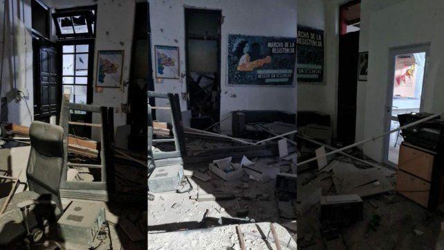 El local sede del Frente de Todos de la ciudad bonaerense de Bahía Blanca sufrió daños materiales.
