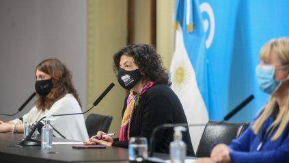 MINISTRA. La conferencia de prensa de este jueves en Casa Rosada.