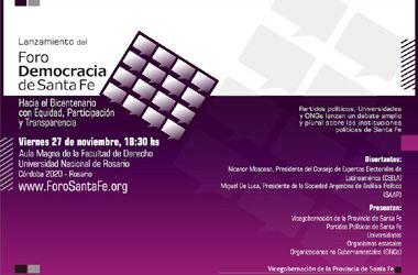 Con una conferencia internacional, se presenta el Foro Democracia de Santa Fe