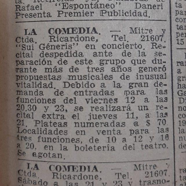 """El aviso en la Cartelera del diario La Capital que anuncia el show del """"Adiós Sui Géneris""""."""