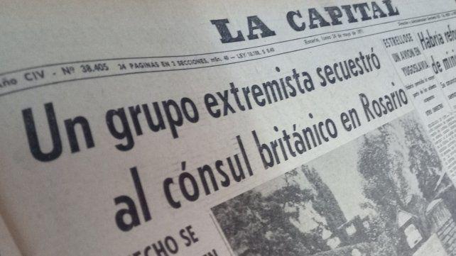 La Capital encabeza su edición del lunes 24 de mayo de 1971 con el secuestro de Sylvester.