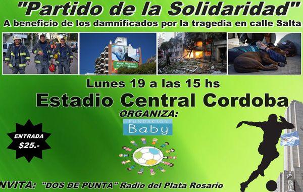 Fútbol solidario. El afiche del partido que se desarrollará el lunes en el Gabino Sosa.
