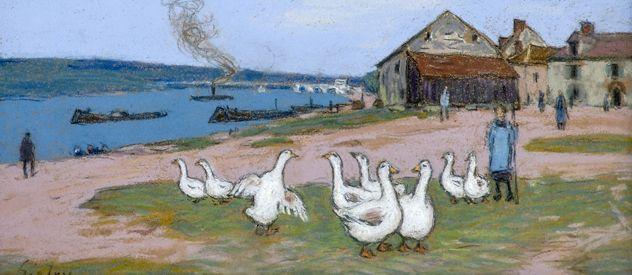 El pueblo de Saint Mammés. Pastel sobre tela de Alfred Sisley (Francia