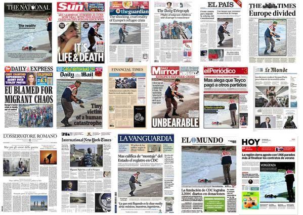 La dramática imagen ganó la portada de los medios europeos.
