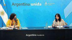 Vacunas. La ministra de Salud, Carla Vizzotti, y la secretaria Legal y Técnica, Vilma Ibarra, brindaron una conferencia de prensa brindando detalles sobre el DNU que firmará el presidente.