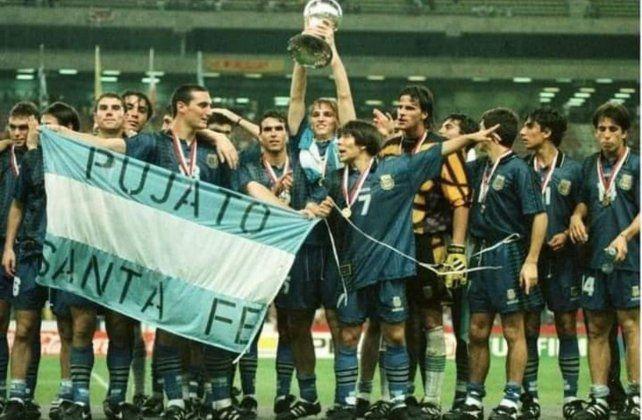 Scaloni en 1997 Malasia como campeón Sub 20